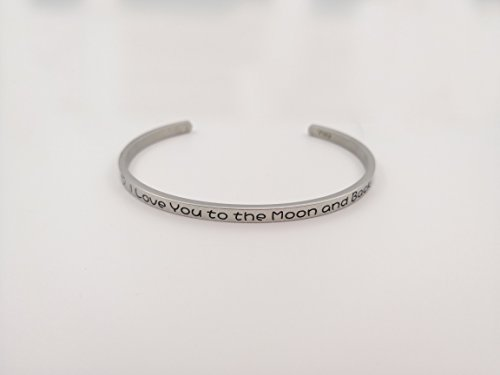 YWJ I Love You to the Moon and Back' Cuff Bangle Love Bracelet for Women Wife Girlfriend Mom Her by YWJ (Image #3)