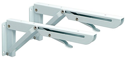 Heavy Duty Mounting Bracket (Alise 2 Pcs Folding Shelf Bracket Heavy Duty Wall Hanging 10X4 Inch,White)