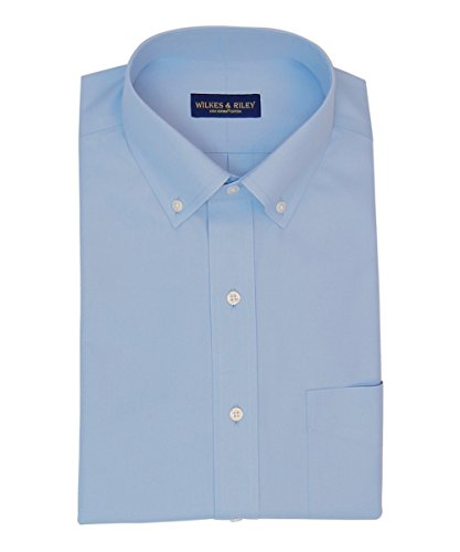 Button Down No Iron Pinpoint - Wilkes & Riley Classic Non-Iron Blue Button Down Collar Pinpoint Dress Shirt