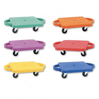 New-Champion Sports PGHSET - Scooter Set wSwivel Casters, Plastic/Rubber, 12 x 12, Assorted Colors, 6/Set - CSIPGHSET