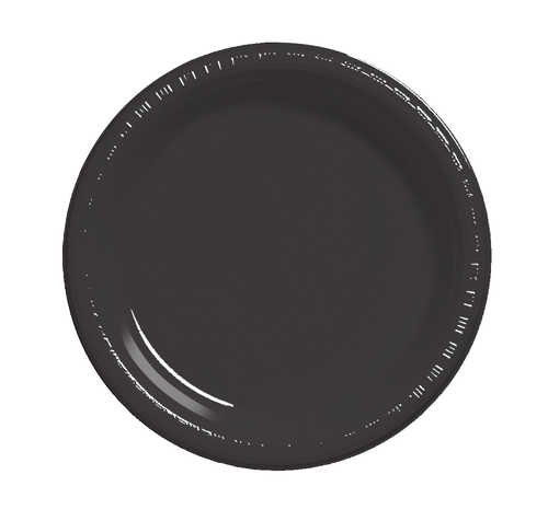 Creative Converting 28134031B Black Velvet Banquet Plate, Plastic, Solid Bulk (12pks Case) by Creative Converting
