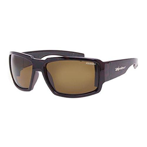 Glass Tortoise Shiny Amber (Bomber Sunglasses - Boogie Bomb Shiny Tortoise Frm/Brown Polarize Lens/Black Foam)