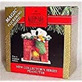 1991 Hallmark Peanuts Series #1 Snoopy, Woodstock, Waiting for Santa– Fire in the Fireplace Flickers Ornament