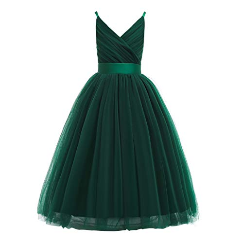 Glamulice Girls Lace Bridesmaid Dress Long A Line Wedding Pageant Dresses Tulle Spaghetti Strap Party Gown (9-10Y, V-Emerald Green)]()