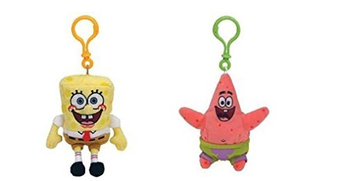 Ty beanie babies spongebob and patrick clip set