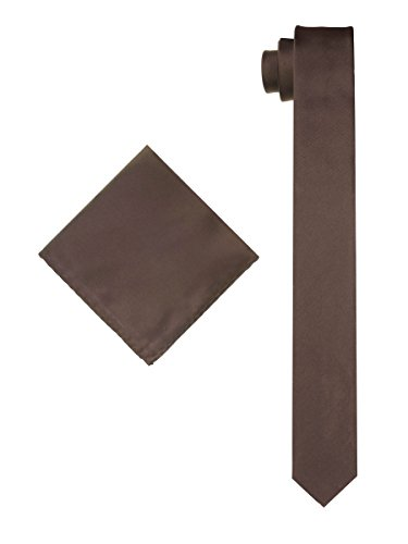 ktie with Matching Pocket Hanky - Chocolate Brown ()