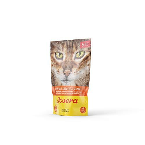JOSERA Soup Huhn mit Karotte & Spinat (16 x 70 g) | getreidefreies Katzenfutter | extra Flüssigkeit für trinkfaule…