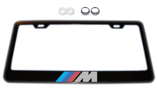 Plate License Series (BMW M-Series Black License Plate Frame w/ Screw Covers)