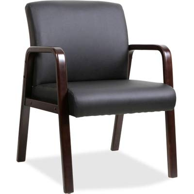 - Lorell Guest Chair, Black/Espresso, 24 by 25-5/8 by 33-1/4-Inch
