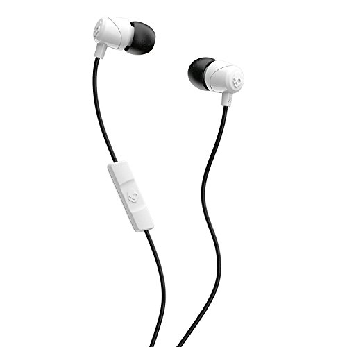 Skullcandy Jib In-Ear Noise-Isolating Earbuds with Microphone and Remote for Hands-Free Calls, Lightweight, Stereo Sound and Enhanced Base, Wired 3.5mm Jack Connectivity, White/Black