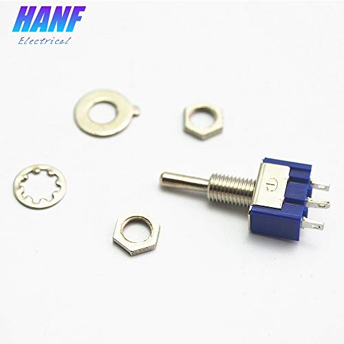 7pcs Blue Miniature Toggle Switch MTS-103 6A 125VAC Rocker Mini Switch Lever Switch 3Pin ON/OFF/ON SPDT Handle