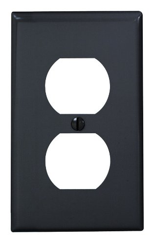 Black Standard Socket - Leviton 80703-E 1-Gang Duplex Device Receptacle Wallplate, Standard Size, Thermoplastic Nylon, Device Mount, Black