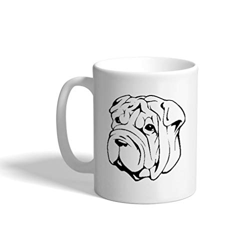 Custom Funny Coffee Mug Coffee Cup Shar Pei Head Black White Ceramic Tea Cup 11 OZ Design Only ()
