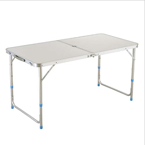 ZFDM Outdoor Folding Picnic Table Strips Home Computer Desk Simple Propaganda Push Table Stalls Aluminum Alloy Nail Table Stool Folding Table (Color : White)