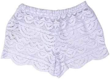 Miken Juniors' Crochet Scalloped Cover-Up Shorts, Created for Macy's Women's Swimsuit White