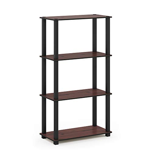 (Furinno 18028DC/BK Turn-S 4-Tier Display Rack with Square Tube, Dark Cherry/Black)