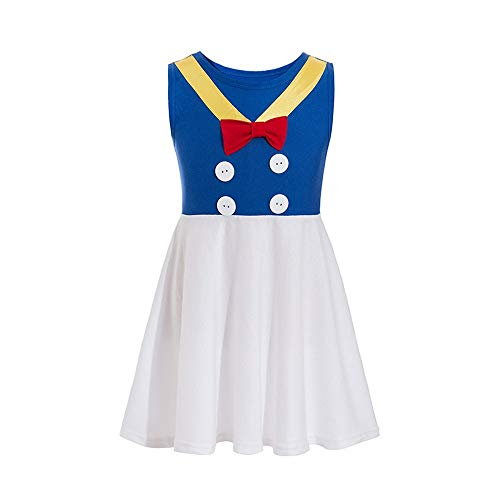 Donald Costume Donald Princess Dress Mickey Costume Princess Cosplay Donald Duck Casual Costume Friends (White, 2-3T) -
