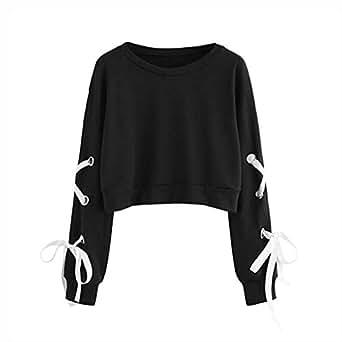 TUDUZ Blouse Women's Sweatshirt Casual Lace Up Long Sleeve T Shirt Solid Short Pullover Crop Top Blouse 2XL=UK(16) Black