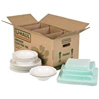 U-Haul Dish Packing Kit – for Dishes and Glassware – Includes 1 Box, 1 Cell Divider Unit, and 32 Assorted Foam Pouches (Value Pack of 2)