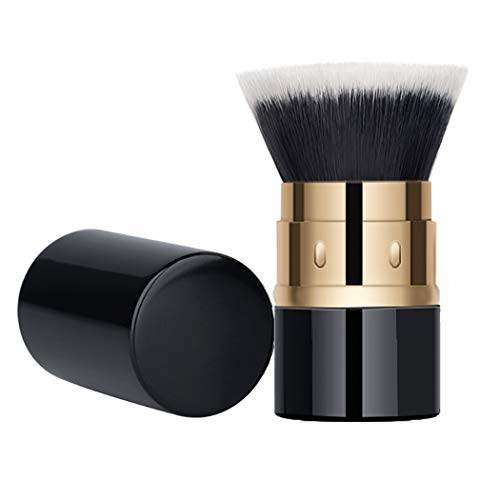 BLD Powder Brush Flat Head Blush Brush with Cap - Portable Makeup Kabuki Brush for Travel Super Soft Fluffy Synthetic Hair