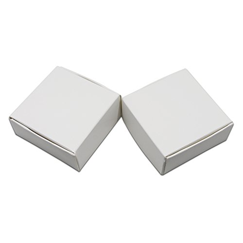 Kraft Paper Party Jewelry Packaging Boxes Small Gift Present Invitation Holiday Storage Boxes White Cardboard Earrings Cosmetic Makeup Decorative Box (2.3x2.3x1.3 inch(5.8x5.8x3.2 cm), 50 Pieces)]()