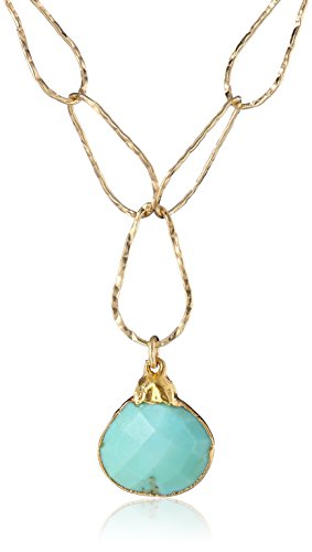 Devon Leigh 14k Gold and Turquoise Pendant Necklace, 19.5