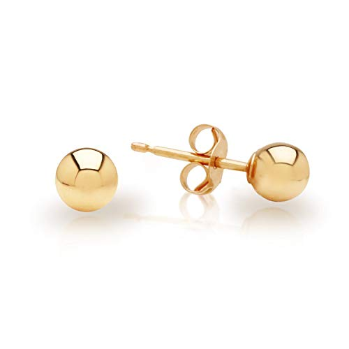 14k Yellow Gold Hollow Ball Stud Earrings 7MM - Earrings Gold Ball 7mm Yellow