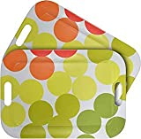 """WUMN Colorful Plastic Serving Tray with Handles, BPA-free Safety Fast Food Tray, Rectangular Melamine Tray 17"""" x 12""""?Serving Plate and Platters - Set of 2"""