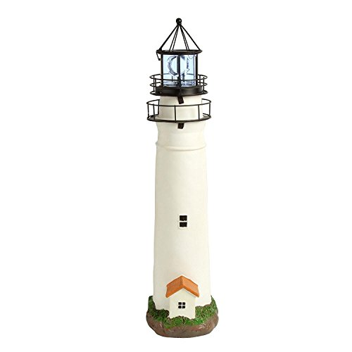 """30"""" Cape May Style Solar Lighthouse with Rotating Lighted Beacon"""