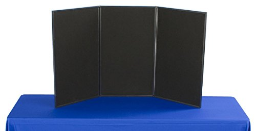 (Displays2go 3-Panel Tabletop Display Board, 54 x 30-Inches - Black and Gray Velcro-Receptive Fabric (3P5430BKGR))