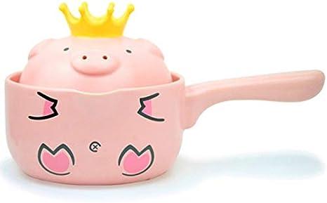 SPLY DTEM Mini Pink Pig Ceramic Milk//Single Handle Non-Stick Soup Pot with Lid 1L Color : Pink