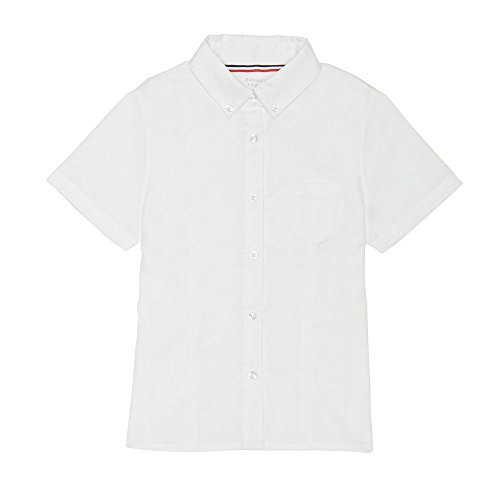 (French Toast Big Girls' Short Sleeve Button Down Oxford with Darts, White, 7)
