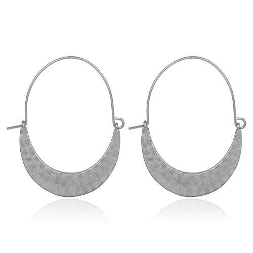 Simple Geometric Hoop Earrings - Bohemian Tribal Lightweight Profile Shield Hoops Curved Metal Crescent Moon, Hammered Filigree (Hammered Shield - Silver)