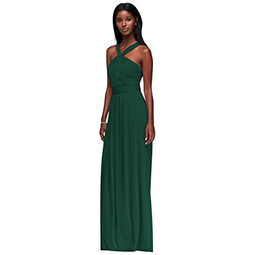 (David's Bridal Y-Neck Long Mesh Bridesmaid Dress Style W11173, Juniper,)