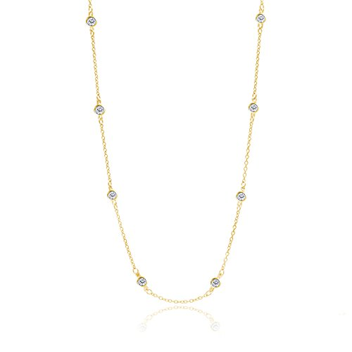 [Women's Sterling Silver Double Side Cubic Zirconia CZ By The Yard Station Necklace (Gold 18