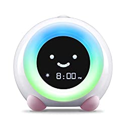 LittleHippo Mella Ready to Rise Children's Trainer, Alarm Clock, Night Light and Sleep Sounds Machine (Blush Pink)