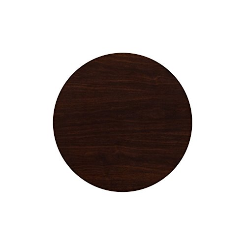 24' High Round Table (Flash Furniture 24'' Round High-Gloss Walnut Resin Table Top with 2'' Thick Drop-Lip)