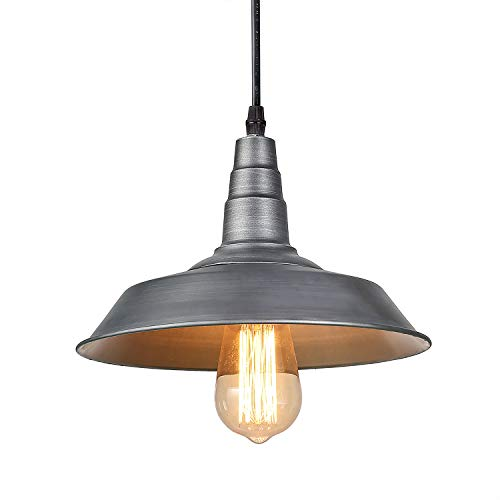 (LALUZ Barn Pendant Light, 1-Light Farmhouse Kitchen Island Lamp Industrial Edison Pendant Ceiling Lighting Fixture, Silver Brushed)