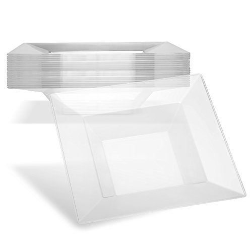 Clear Plastic Bowls Small Dessert Plates | Disposable Soup Bowl 5 oz Set of 40 | Square | Dipping Bowls | Small Serving Bowl | For Appetizer Condiment Hot Sauce (Small Rim Soup Plate)