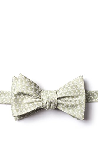 (Small Anchors Olive Microfiber Bow Tie)