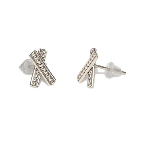 Sterling Silver Criss Cross Bar Post Earrings / Tiny Stud Earrings, Earring Studs - Blue Topaz Cross Earrings