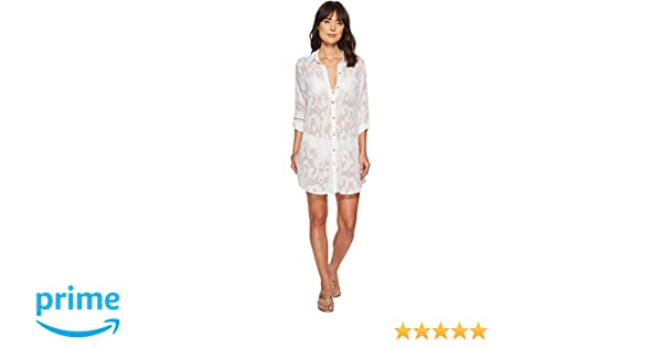 4d325ac2c1c1f Lilly Pulitzer Women s Natalie Cover-Up Resort White Poly Crepe Swirl Clip  XX-Small at Amazon Women s Clothing store