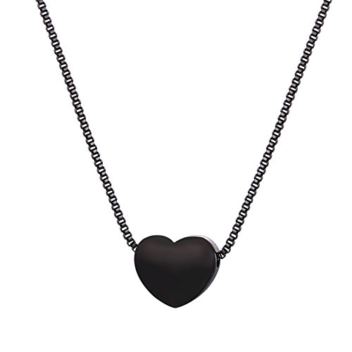 U7 Cute Heart with Black Gun Plated Italian Box Chain Pendant Necklace, 17-19 Inch Black Heart