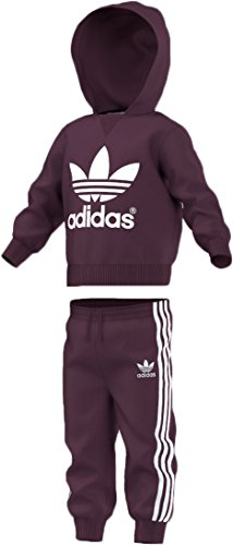 adidas Originals Infant Trefoil Set, Merlot/White, 3T (Adidas Originals Tracksuit Women)