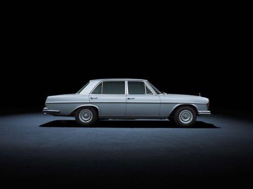 Mercedes-Benz S Class SEL 3.5 W108 (1965-1972) Car Art Poster Print on 10 mil Archival Satin Paper Light Blue Side Studio View 17