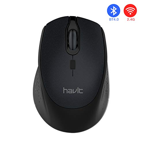 HAVIT Bluetooth Mouse 4.0 Wireless Mouse 2.4G Dual Mode 2400 DPI 3 Levels Adjustable for PC, Laptop, Computer, MacBook (Bluetooth Mode) ()