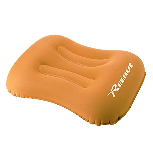 REEHUT Inflatable Camping Pillow, 80 Gram, Soft Fabric, Ergonomic Design, with Storage Bag Portable for Backpacking, Hiking, Camping, Traveling(Orange)