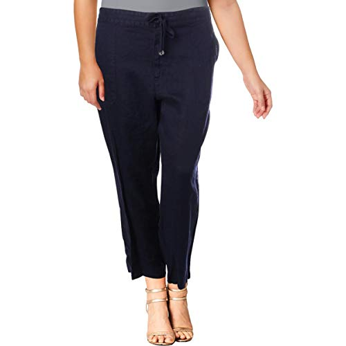 (Lauren Ralph Lauren Women's Straight Linen Pants Navy 8)