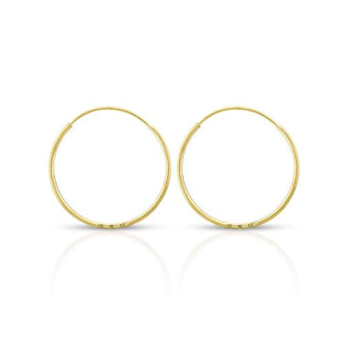 14k Yellow Gold Women's Endless Continuous Round Tube Hoop Earrings 1mm Thick 10mm - 20mm, Basic & Diamond-Cut (16mm -