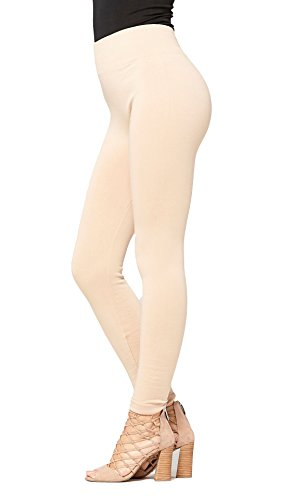 Conceited Fleece Lined Leggings for Women - LFL Beige Nude - Large/X-Large -